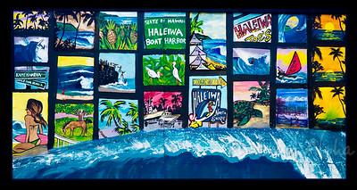 Reef Hawaiian Pro 2008, detail of muralAli'i Beachpark, Hale'iwaNorth Shore of Hawaii, November, 2008Art by DrewToonz Andrew Miller, artist