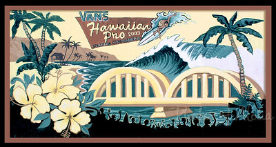 Hawaiian Pro Surf Contest, detailAli'i Beachpark, Hale'iwa, HawaiiVan's Triple Crown of SurfingNorth Shore of O'ahu ~ Surf Capitol of the World  Mural Art by DrewToonz Andrew Miller, artist