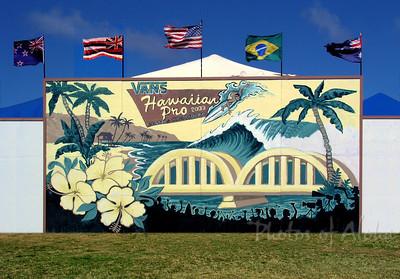 Hawaiian Pro Surf Contest, 2003Ali'i Beachpark, Hale'iwa, HawaiiVan's Triple Crown of SurfingNorth Shore of O'ahu ~ Surf Capitol of the World  Mural Art by DrewToonz Andrew Miller, artist