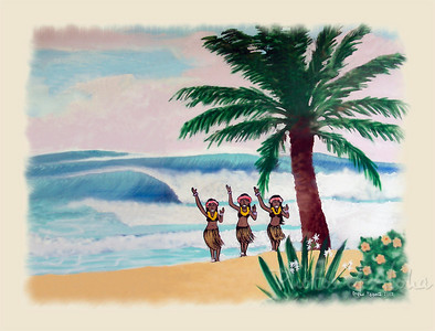 Hula Girls Waving Aloha  Section of a mural by DrewToonz on the front of Ted's Bakery at Sunset Beach along the Kamehameha Hwy.  North Shore of O'ahu, Hawaii Andrew Miller, artist