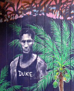 Mural Detail: Duke Kahanamoku painted on the back side of Planet Surf  DrewToonz painted the entire building in wonderful murals.  Photographed in 2003. The surf shop moved into Hale'iwa Town, the building has been repainted grey and is empty as of late 2008.  Corner of Pupukea and Kamehameha Hwy, across from Foodland, and Shark's Cove  North Shore of O'ahu Andrew Miller, artist