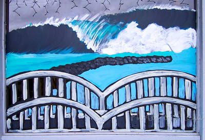 Wave and Rainbow Bridge  Section of a multi-window mural at surf shop in Hale'iwa, 2005Art by DrewToonz Andrew Miller, artist