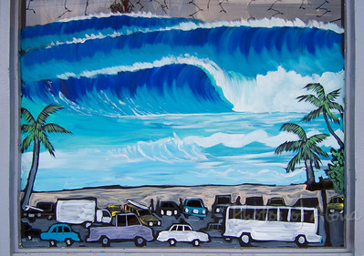 Section of a multi-window mural at surf shop in Hale'iwa, 2005Art by DrewToonz Andrew Miller, artist  North Shore of O'ahu, Hawaii Andrew Miller, artist