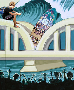 Meet DrewToonz (Andrew Miller) himself!!  Drew is one of my favorite artists - his art brings a smile to my face everytime!  Here's my artography view of Drew sitting on his mural of Hale'iwa's Rainbow Bridge while engrossed with his new cell phone - way back in 2003.  Ali'i Beach Park, First gem of the Triple Crown of Surfing is held here every year. Second gem at Sunset Beach. Third at Pipeline. Andrew Miller, artist