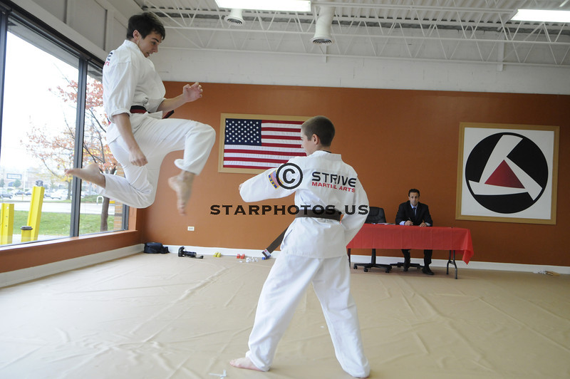 Strive Martial Arts promotion test, Willowbrook, Illinois Saturday October 13, 2012. <br /> <br /> Scott Hardesty/www.starphotos.us