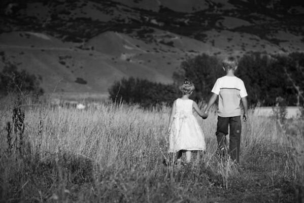 Garion & Kayla walking BW 20080908-IMG_3566-2