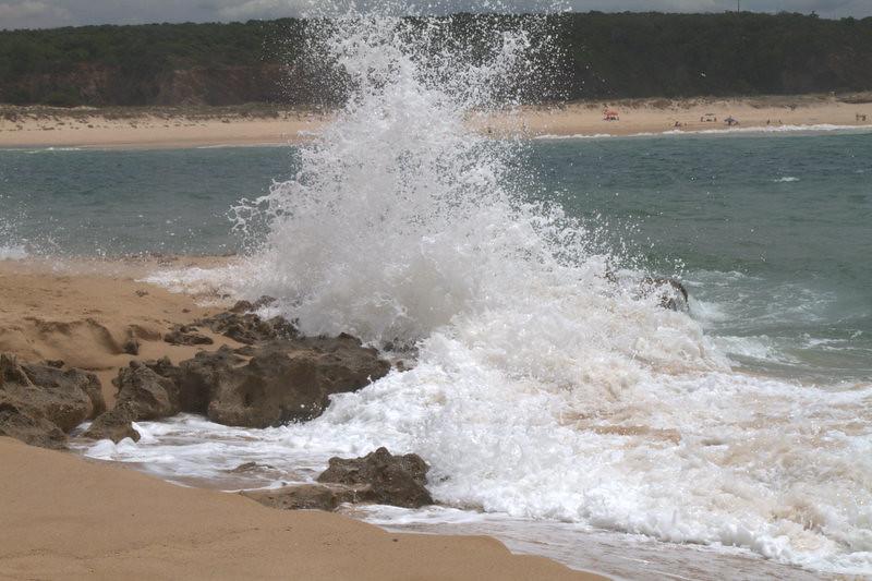 Waves breaking on the beach, Vila Nova de Milfontes, Portugal