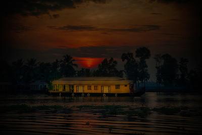 House Boat in Kerala Back Water Sunset