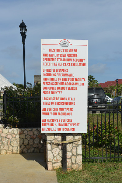 Warning sign at Falmouth cruise port, Jamaica, by Ted Lee Eubanks.