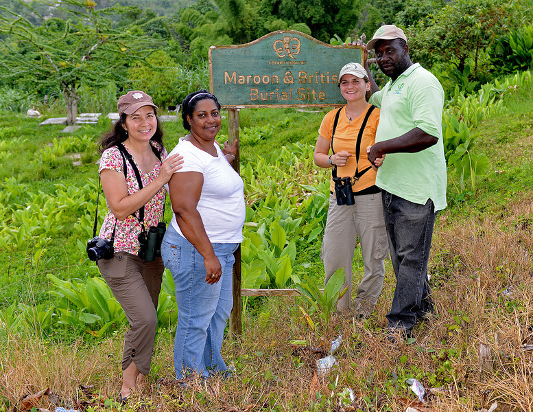 Local officials with Lisa Sorenson and Holly Robertson (both with SCSCB) near Flagstaff, Jamaica, by Ted Lee Eubanks.  Both British and Maroon soldiers are buried here.