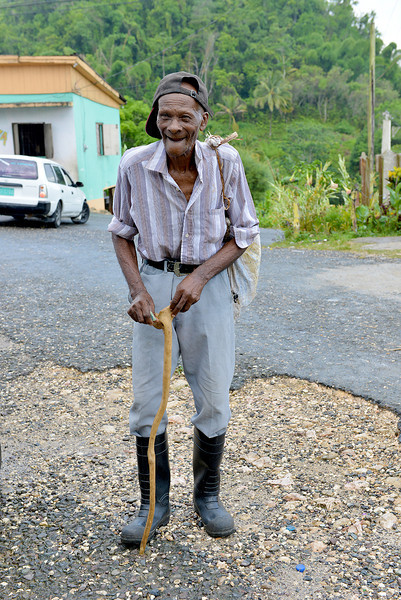 Elderly gentleman greeting us to Flagstaff, Jamaica, by Ted Lee Eubanks.