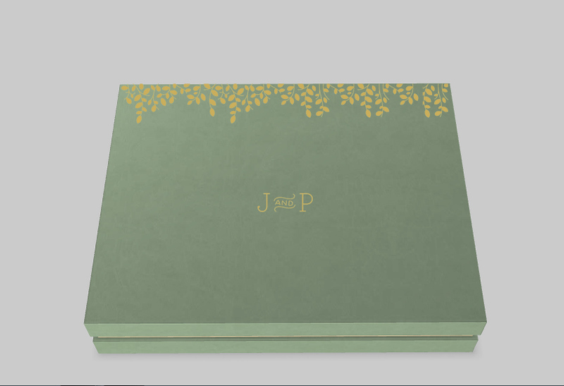 3D design of box in Leatherette with Raised Gold Foil Finishing