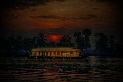 House Boat in Kerala Back Water Sunset