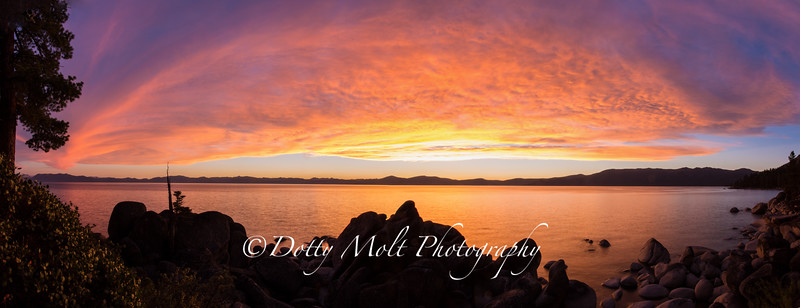 Sunset Rainbow, Chimney Beach, Lake Tahoe, Nevada