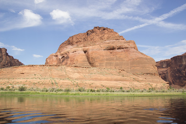 2015-05-29-74 Before - River Raft Trip to Horseshoe Bend. View of Horseshoe Bend Looking straight on from the river. Very difficult to realize the height and how massive it really is.