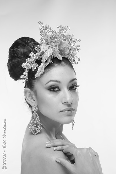 Model, MUA & Hair: Priscilla Chavez<br /> Designer: Fernanda Gratton<br /> Flowers: Veranda Flowers, Gifts, and Events and El Paso Floral<br /> Photographer: Bill Hardman