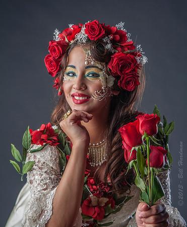 Model: Xenia Lozano<br /> Designer, MUA, & Hair: Sandra Luz Martinez<br /> Flowers: Veranda Flowers, Gifts, and Events and El Paso Floral<br /> Photographer: Bill Hardman