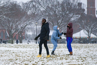 Snowball fight on National Mall