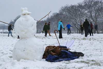 People gather on National Mall during snow storm