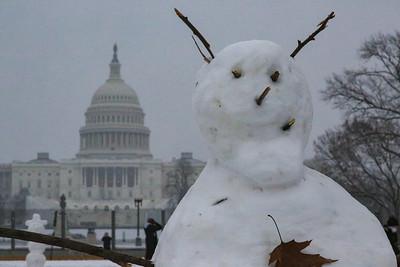 Snowman near U.S. Capitol