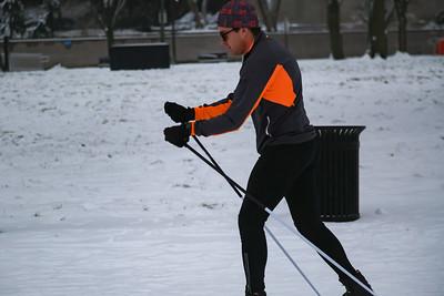 Man skiing on National Mall