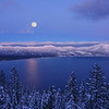 Super Snow Moon rise over Lake Tahoe
