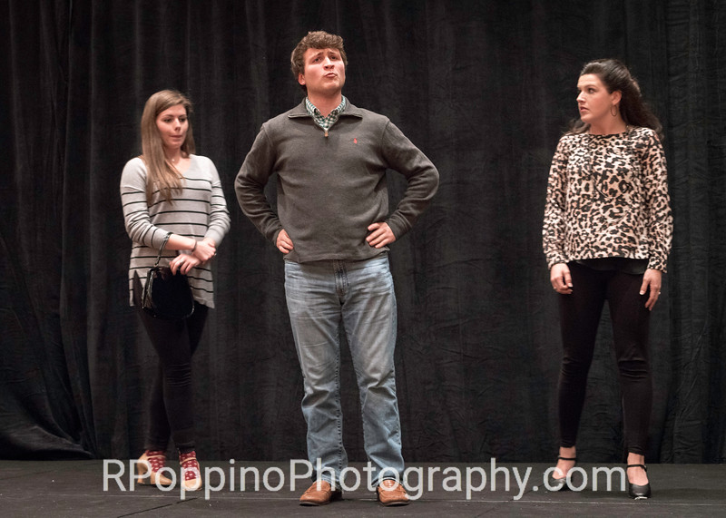 """Loesser, How to Succeed in Business Without Really Trying, Act I, """"Been a Long Day,"""" Samford University, rehearsal, Wednesday, January  6, 2016."""