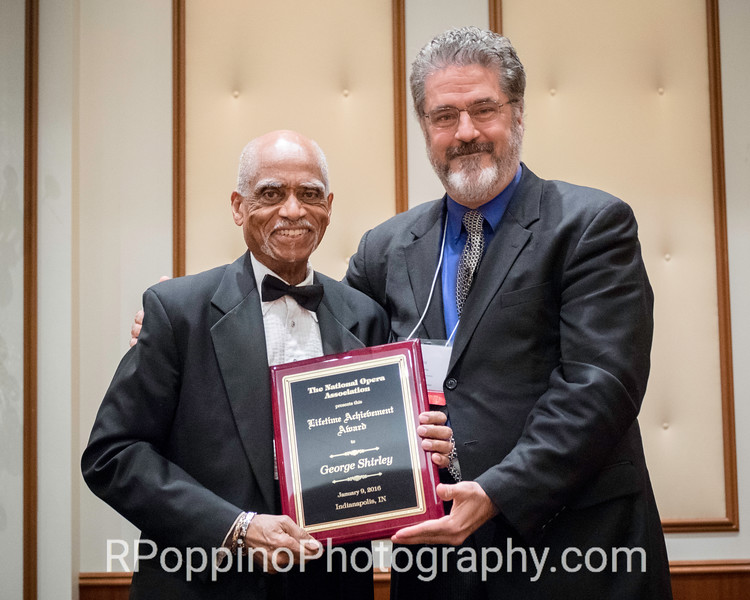 George Shirley, 2016 Lifetime Achievement Award winner, with NOA President David Holley.