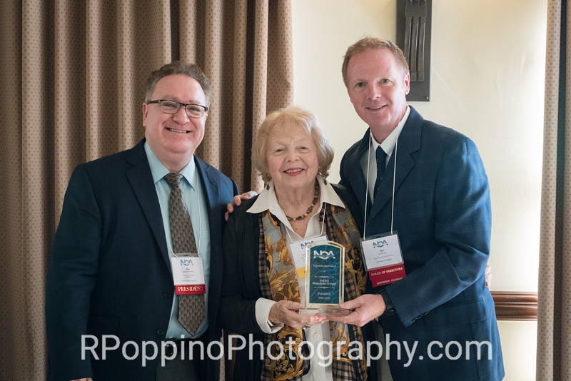 Former NOA President JoElyn Wakefield-Wright, honoree, Opening Ceremonies and Luncheon, with President Reg Pittman and Convention Co-Chair Ben Brecher