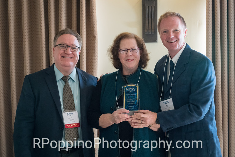 Former NOA President Julia Aubrey, honoree, Opening Ceremonies and Luncheon, with President Reg Pittman and Convention Co-Chair Ben Brecher