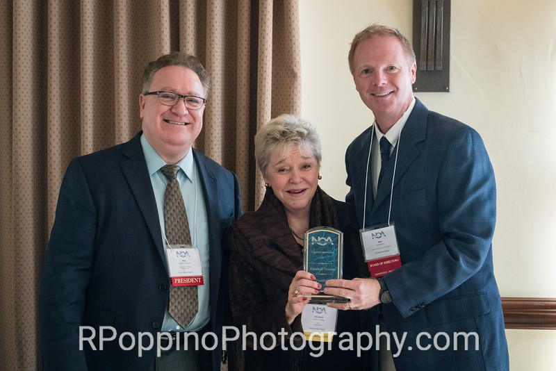 Former NOA President Elizabeth Vrenios, honoree, Opening Ceremonies and Luncheon, with President Reg Pittman and Convention Co-Chair Ben Brecher