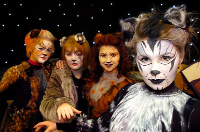 NEWMARKET JOURNAL FEB 2012.  L-R ELLIE BOVINGDON, NAOMI PORTER, EMILY SMITH AND ANNABELLE DAVIS  NEWMARKET JOURNAL FEB 2012.  SOHAM VILLAGE COLLEGE PRODUCTION OF THE MUSICAL CATS.