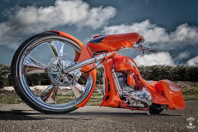 Orange Harley Davidson Motorcyle
