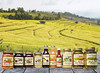 empty rustic wooden table and rice field blurred background, for product display