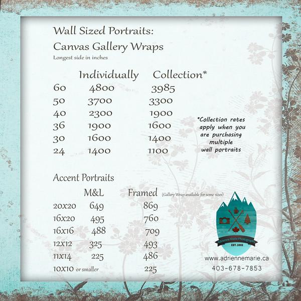 Portrait Print Rates