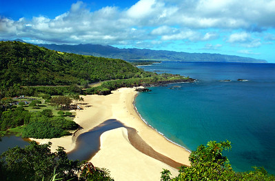 Waimea Bay as seen from the bluff above