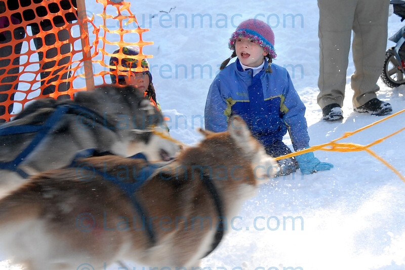 Abbey (left) and Lilly Sturin at Sunday's Myopia Sled Dog Races
