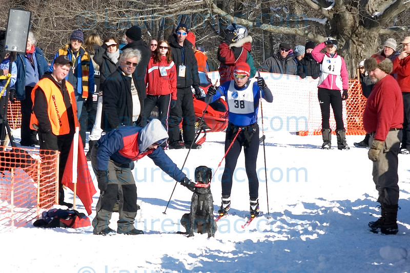 Jason Sperry prepares to follow the Eight Dog racers as he trains to represent Team USA in the skijoring event at the International Federation of Sleddog Sports Winter World Championships in Norway.