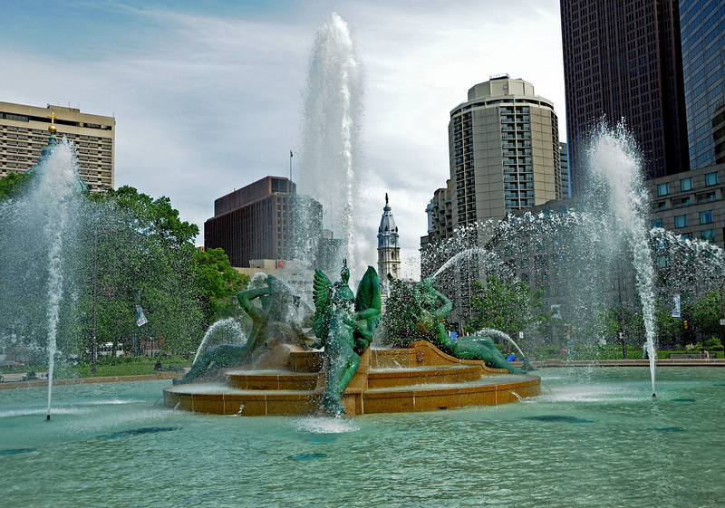 Swan Fountain looking toward Philadelphia City Hall<br /> Logan Square<br /> Ben Franklin Parkway<br /> Philadelphia<br /> 7 May 2010