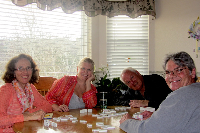 Joan Maring, Sue Santori, Gary Maring, Sandy Santori playing Mexican train, Easter 4-20-14