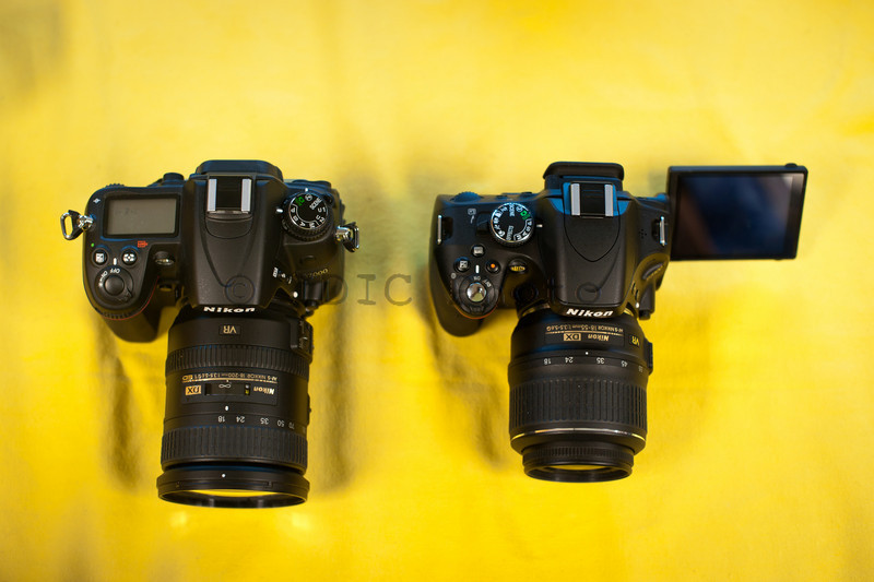 Nikon D5100 with 18-55mm VR next to D7000 with 18-200mm VRII