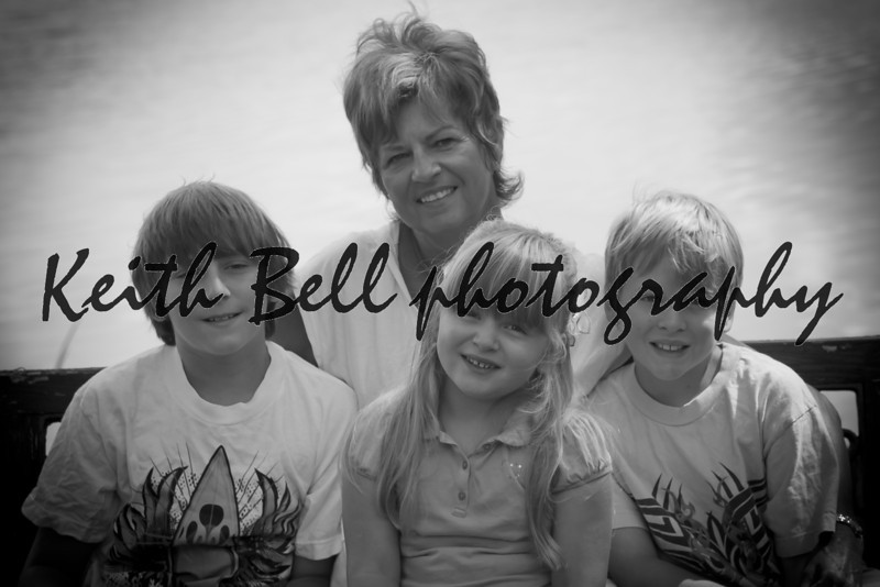 Nana with the grandkids in BW.