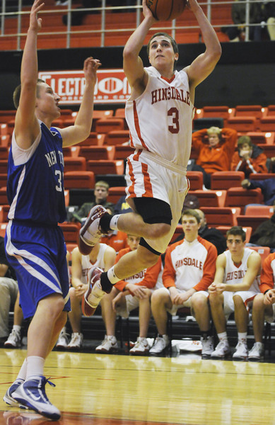 12/28/09<br /> Proviso West Holiday Tournament<br /> New Trier vs. Hinsdale Central<br /> <br /> #3 John Ellis goes up for a shot late in the loss to New Trier.<br /> <br /> <br /> Scott Hardesty/www.starphotos.us