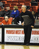 12/28/09<br /> Proviso West Holiday Tournament<br /> New Trier vs. Hinsdale Central<br /> <br /> Assistant coach Ernie Cameron (if memory serves, double check) shouts encouragement.<br /> <br /> <br /> Scott Hardesty/www.starphotos.us