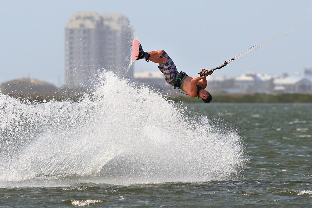 Jon Van Malsen inverted at an undisclosed location on South Padre Island.