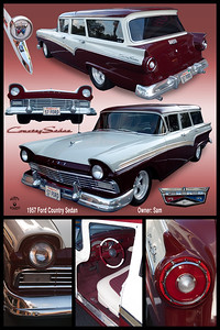 20 X 30 vertical 1957 red and white Ford SW 2101