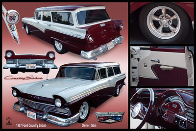 20 X 30 horizontal 1957 red and white Ford SW 2101
