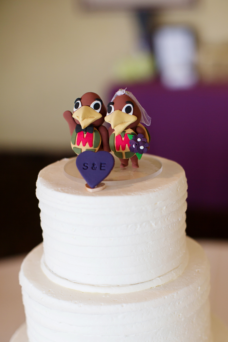 University of Maryland cake topper at Samantha and Eric's wedding at Hunt Valley Country Club. Photos my top Washington, DC wedding photographer Jalapeno Photography.