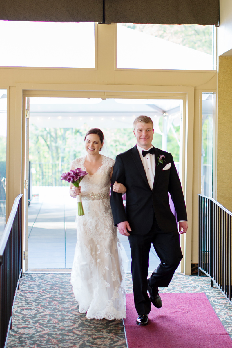 Samantha and Eric's purple and silver wedding photos at Hunt Valley Country Club just outside of Washington, DC. The Baltimore area wedding photographer was Jalapeno Photography.