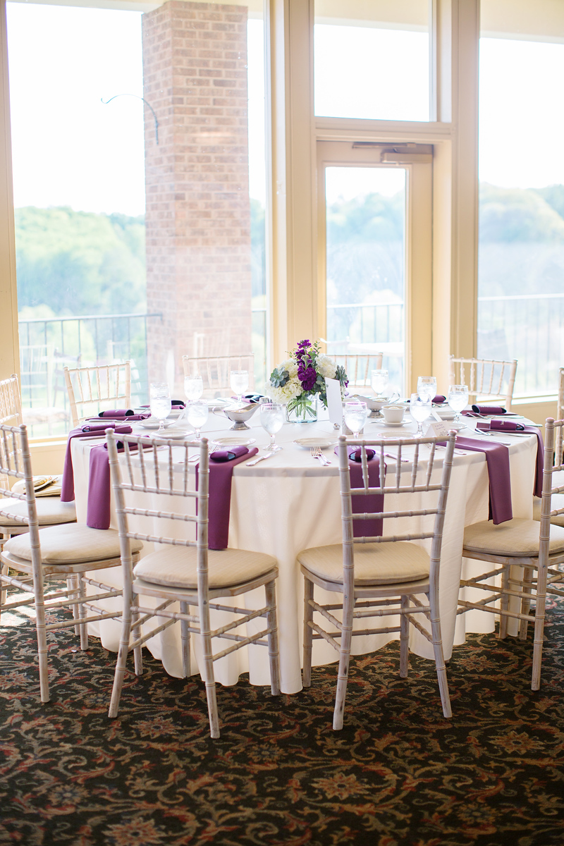 Samantha and Eric's purple and silver wedding photos from their Hunt Valley Country Club. The Washington, DC wedding photographer was Jalapeno Photography.